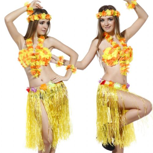 Hawaiian Fancy Dress 6 piece Set - Yellow/Orange